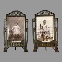 Pr French Art Deco Frames Original Photos Boy Rifle