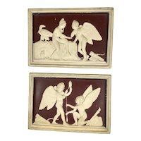 Pair Antique Danish Art Pottery Angel Plaques