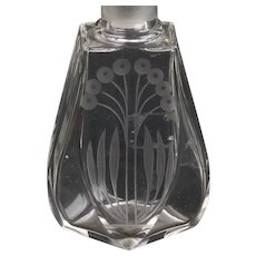 Pair Czech Clear Crystal Engraved Perfume Bottles