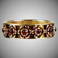 Retro 14K Rose Gold Rubies Eternity Wedding Band Ring