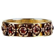 Retro 14K Rose Gold Rubies Eternity Wedding Band Ring