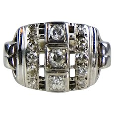 Stunning Retro c1940s 14K White Gold Diamond Ring