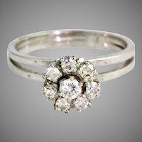 Art Deco 14K Gold Diamond Ring Flower Design