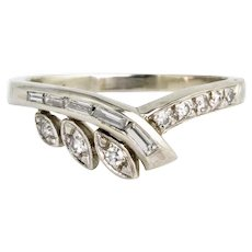 14K White Gold Diamond .35 ctw Band Ring Wedding or Stacking Ring