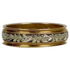 Art Deco 14K Rose & White Gold Diamond Band Ring