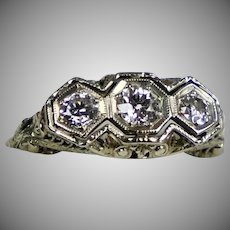 Art Deco 18K Gold Filigree 3 Diamond .75ctw Ring