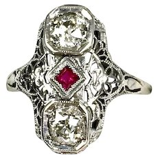 Art Deco 14K Gold Diamond 1.00 ctw Ruby Dinner Ring