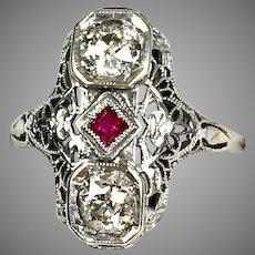 Art Deco 14K Gold Diamond 1.00 ctw Ruby Dinner Ring