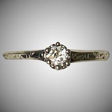 Art Deco 14K Gold Diamond .20ct Engagement Ring