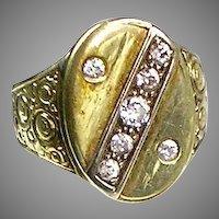Art Deco 14K Gold Diamond Unisex Large Ring