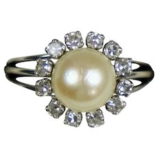 14K Gold Diamond .50ctw Pearl Ring