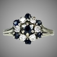 14K Gold Diamond & Sapphire Cocktail Ring