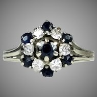 14K Gold Diamond & Sapphire Cocktail Ring