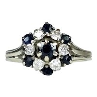 Vintage 14K Gold Diamond & Sapphire Cocktail Ring  Flower-like Design