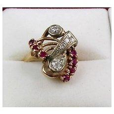 Vintage Retro 14K Rose Gold Diamond Ruby Ring Large  Sparkle  Unique Design