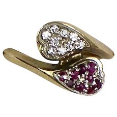 Vintage Retro 14K Gold Diamond & Ruby Ring  Hugging Hearts  Unique
