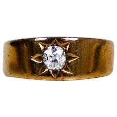 Victorian 14K Rose Gold Diamond Gypsy Ring