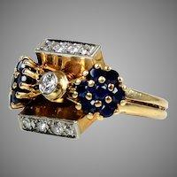 Retro 14K Rose Gold Diamond Sapphire Ring Very Unique Design