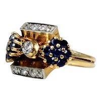 Retro 14K Rose Gold Diamond Sapphire Ring