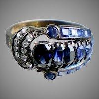 Retro c1940s Gold Sapphire & Diamond Ring  STUNNING