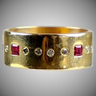 Vintage Artisan 14K Yellow Gold Ruby Diamond Eternity Band Ring