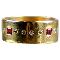 Vintage Artisan 14K Yellow Gold Ruby Diamond Eternity Band Ring