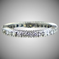 Vintage Platinum Diamond 1.00ctw Eternity Band Ring