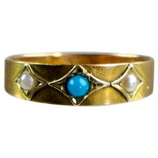 Victorian 15K Rose Gold Turquoise & Pearl Band Ring English Hallmarks