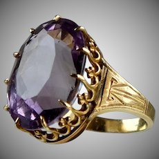 Large Victorian 14K Rose Gold Amethyst Ring