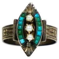 Victorian 9K Rose Gold Turquoise & Pearl Ring