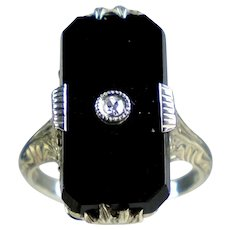 Art Deco 14K White Gold Black Onyx Diamond Ring