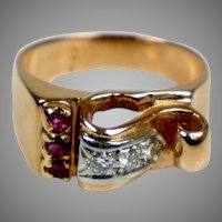 Retro c1940s 14K Rose Gold Ruby & Diamond Ring