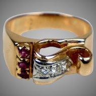 Retro c1940s 14K Rose Gold Ruby & Diamond Ring