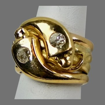Substantial Victorian 18K Gold Diamond Double Serpent Snake Ring