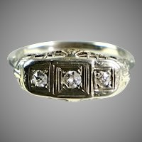 Art Deco 14K White Gold Ring 3 Diamonds E to W