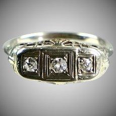 Art Deco 14K White Gold Ring 3 Diamonds E to W