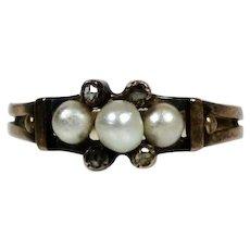 Victorian 18K Rose Gold Rose Diamond & Pearl Band Ring