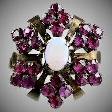 Vintage 14K Rose Gold Ruby & Opal Cocktail Ring