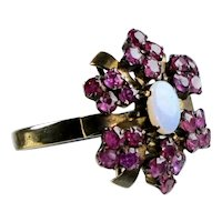Stunning 14K Rose Gold Ruby & Opal Cocktail Ring