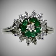 Vintage 14K Gold Diamond & Emerald Cocktail Ring