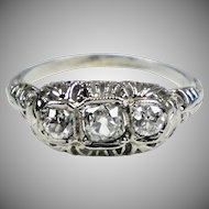 Art Deco 18K White Gold Ring 3 Diamonds E to W
