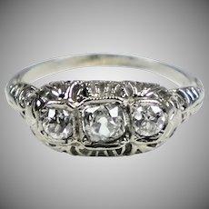 Art Deco 18K White Gold Ring 3 Diamonds E to W