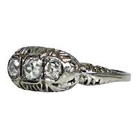 Art Deco 18K White Gold  3 Diamonds Ring