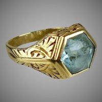 Vintage 14K Gold AquaMarine Ring  Unisex