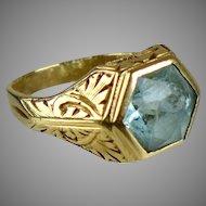 Vintage 14K Rose Gold AquaMarine Ring  Unisex