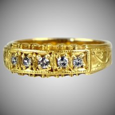 Victorian 18K Gold 5 Diamond Band Ring