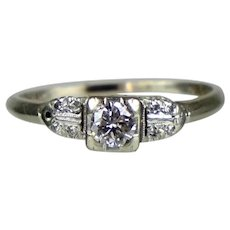 Art Deco 14 - 18K Gold Diamond Engagement Ring