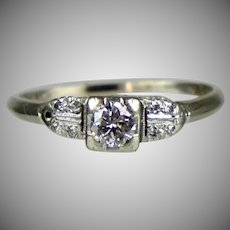 Art Deco 14 - 18K Gold Diamond Engagement Ring