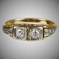 Art Deco 14K Yellow & White Gold Diamond Ring