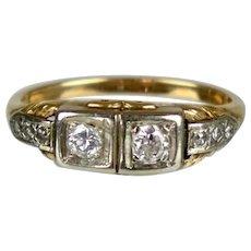 Art Deco 14K Yellow & White Gold Diamond Ring